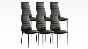 MANY - Lot de 6 chaises Noir