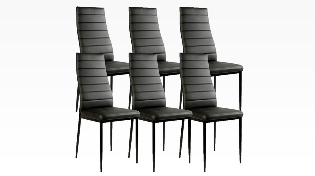 MANY - Lot de 6 chaises Noir