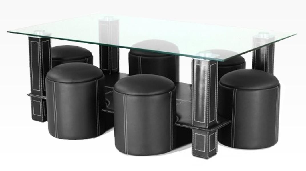 PAVY - Table Basse + 6 Poufs Noir