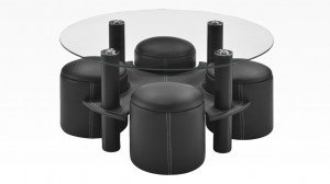 BULY - Table Basse + 4 Poufs Noir
