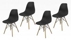 SWEDEN - Lot de 4 Chaises Noir