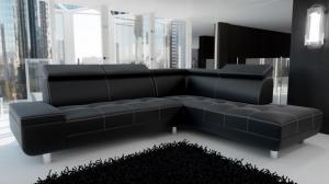 GENOVA - Canapé d'Angle Droit Noir