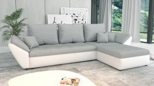 CLARA - Canapé d'angle Convertible Droit Gris et Blanc