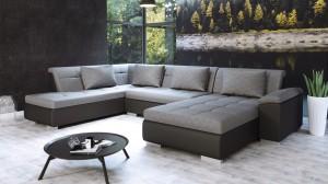 VASTO - Canapé d'angle Convertible Droit Noir et Gris