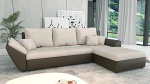 CLARA - Canapé d'angle Convertible Droit Crème Marron